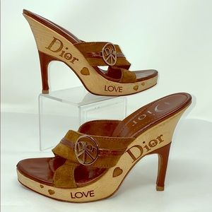 Christian Dior Sz 39.5 Brown Suede Wedge Sandals